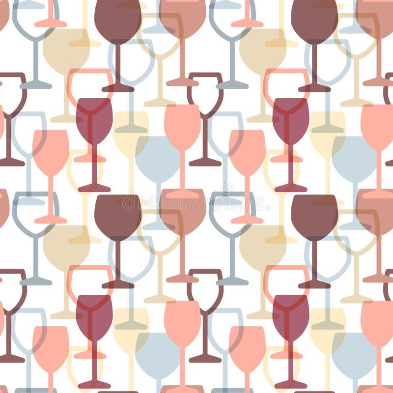 抽象五颜六色的鸡尾酒和酒杯无缝的样式 皇族释放例证