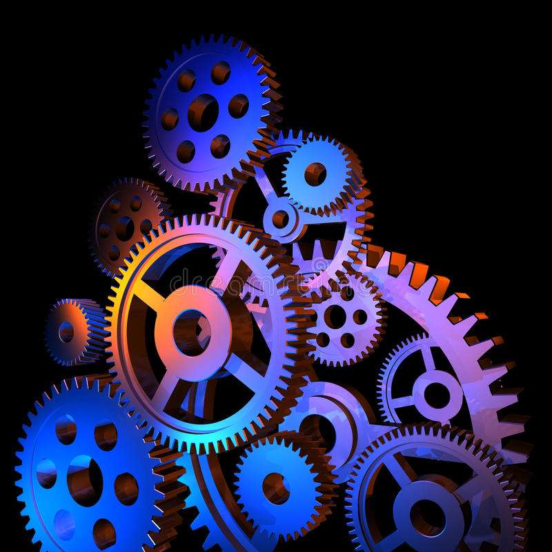 抽象五颜六色的齿轮 向量例证