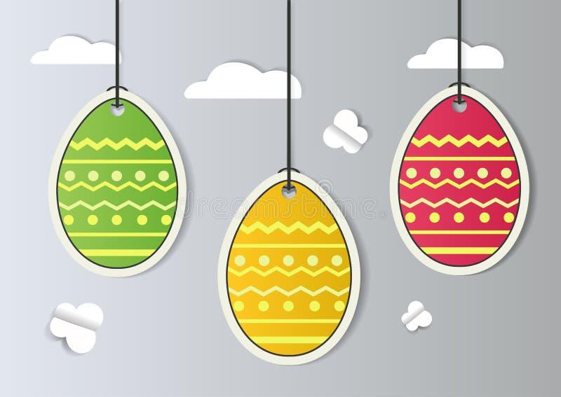 抽象五颜六色的贺卡-愉快的复活节天 与纸的假日背景切了春天复活节彩蛋 时髦设计 向量例证