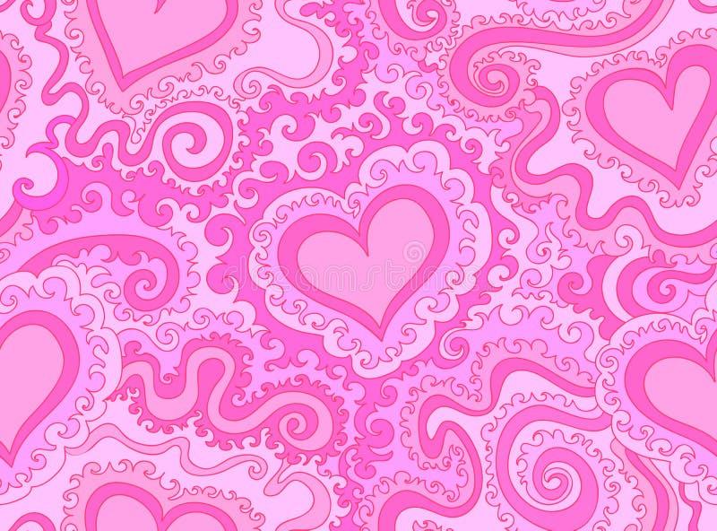 抽象五颜六色的紫色与计算的心脏和线的传染媒介无缝的样式 皇族释放例证