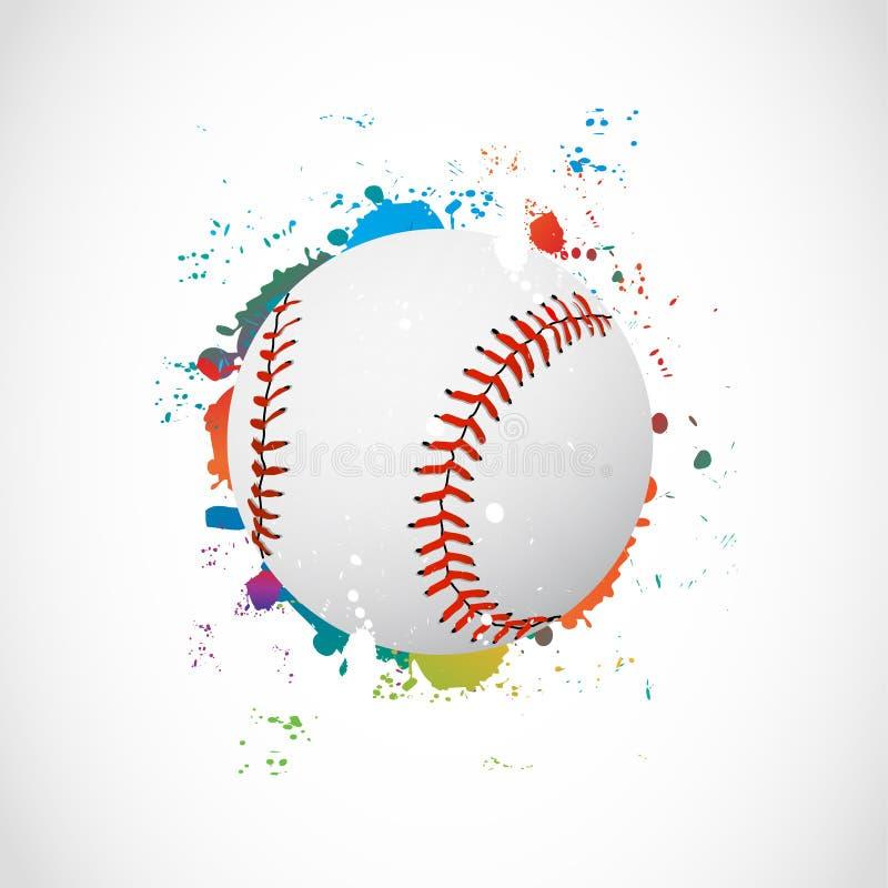 抽象五颜六色的Grunge棒球球 皇族释放例证