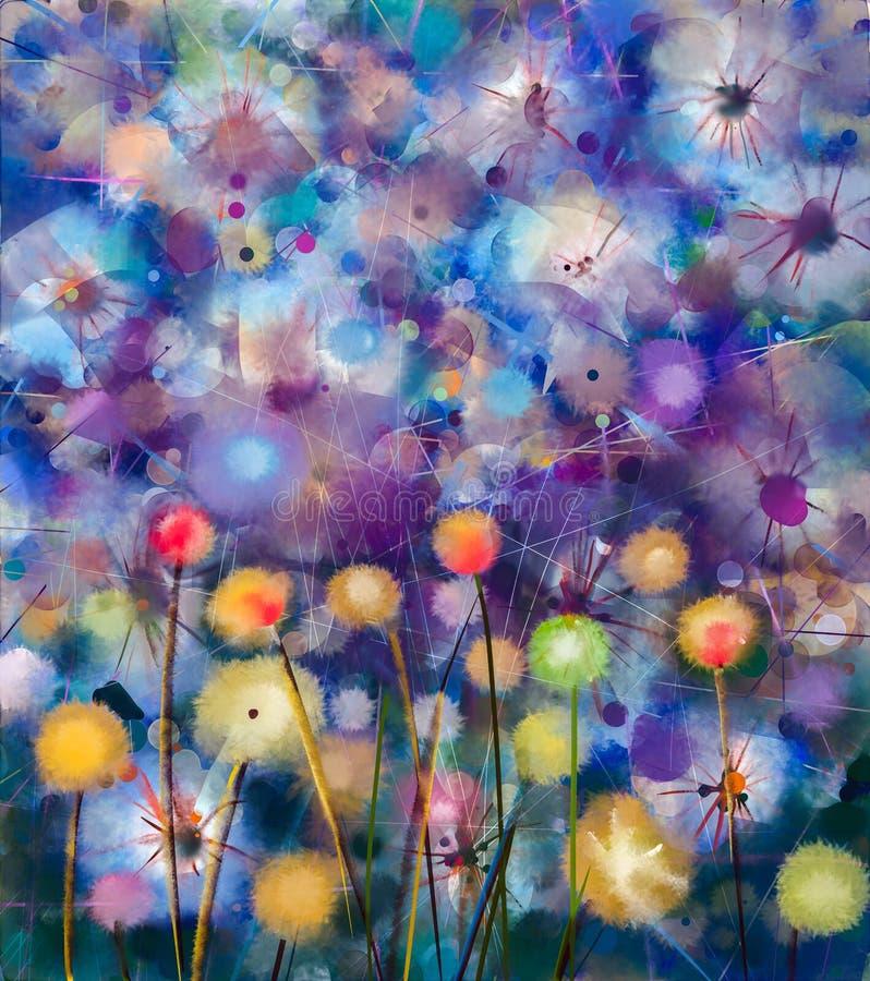 抽象五颜六色花卉,水彩绘画 库存例证