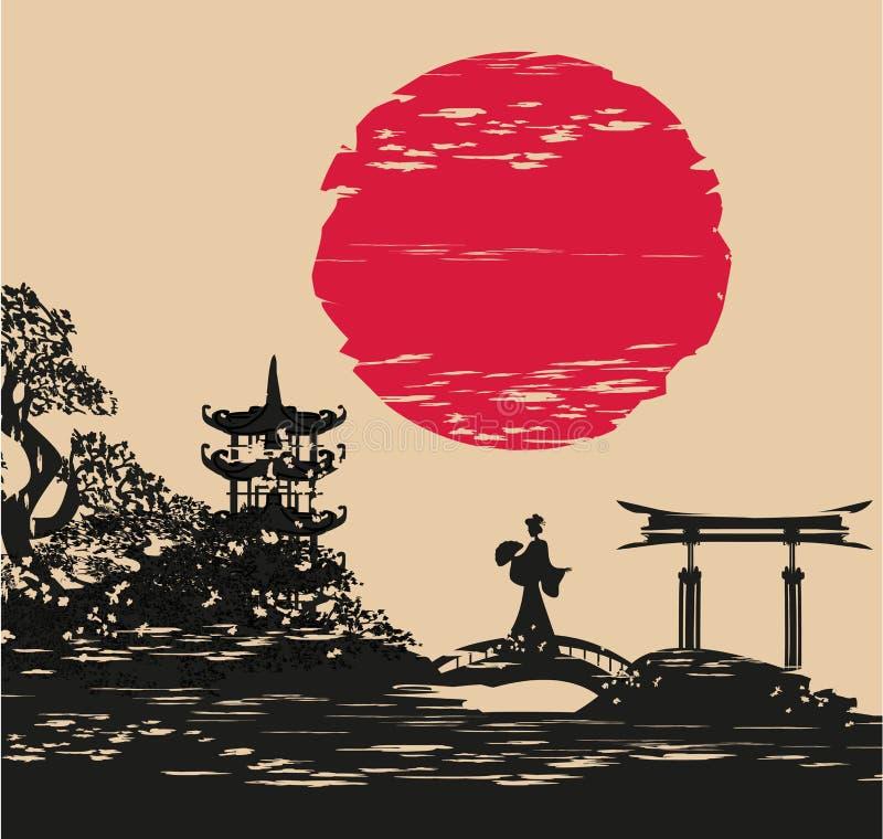 抽象亚洲风景和美丽的亚裔女孩 向量例证