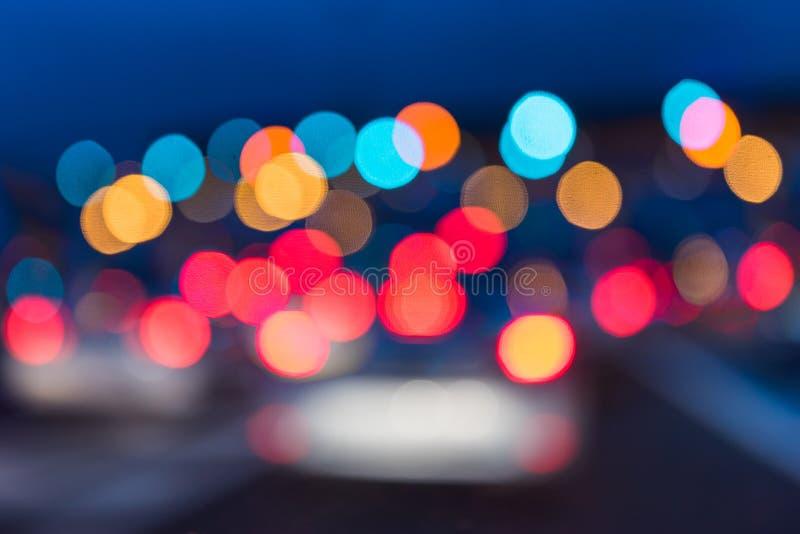 抽象交通堵塞夜光背景 免版税图库摄影