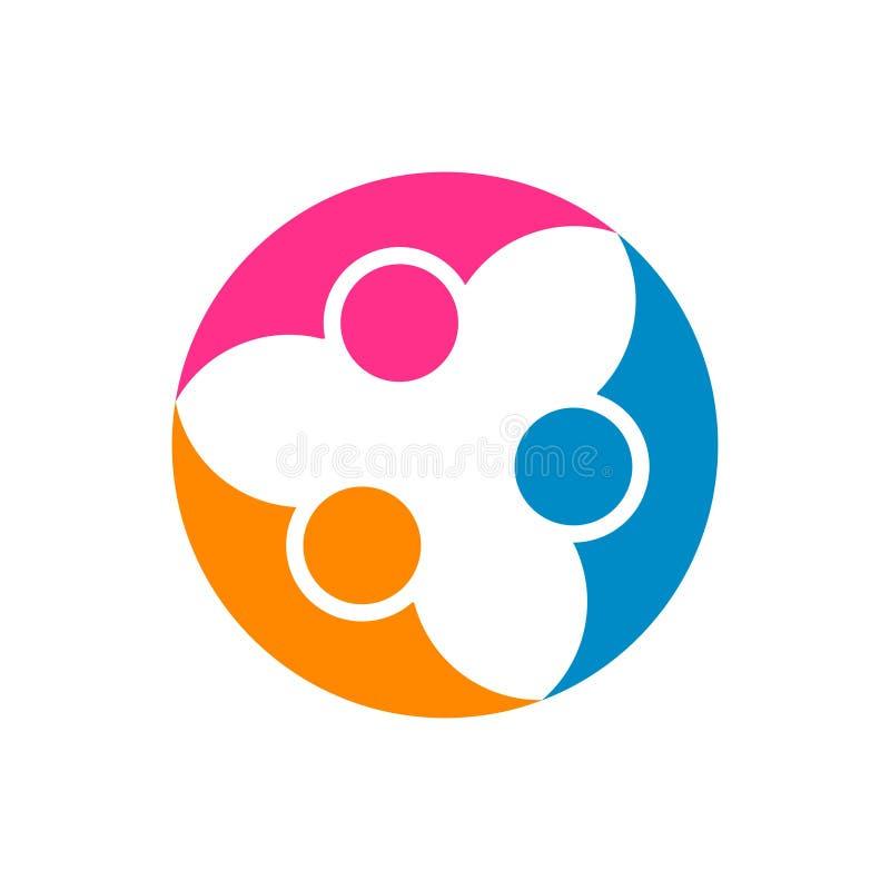 抽象人合作 传染媒介商标设计模板 Concep 向量例证