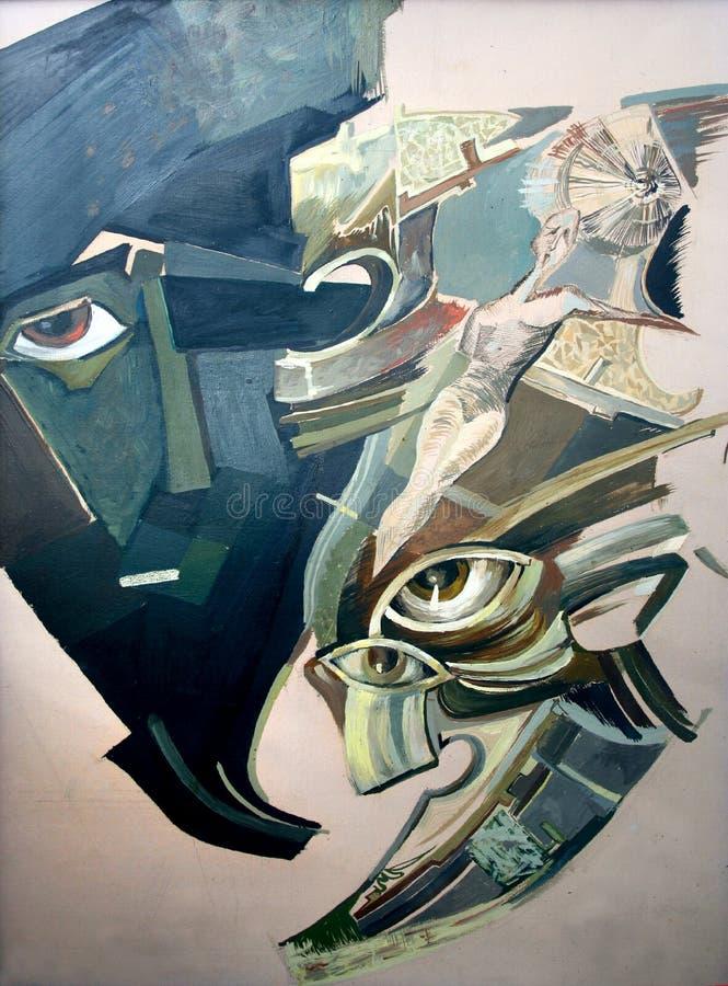 抽象人面 原始的绘画,在帆布的油 向量例证