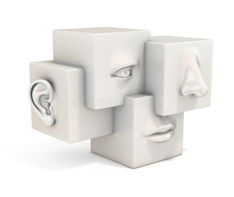 抽象人面3d概念 皇族释放例证