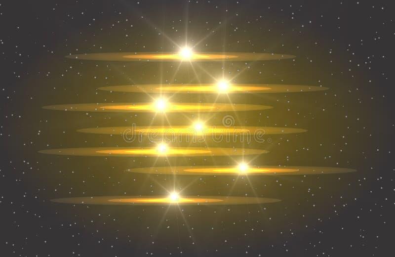 抽象从弯曲的线霓虹迷离的传染媒介发光的不可思议的星光线影响  从的闪烁的星团足迹 闪烁, 皇族释放例证