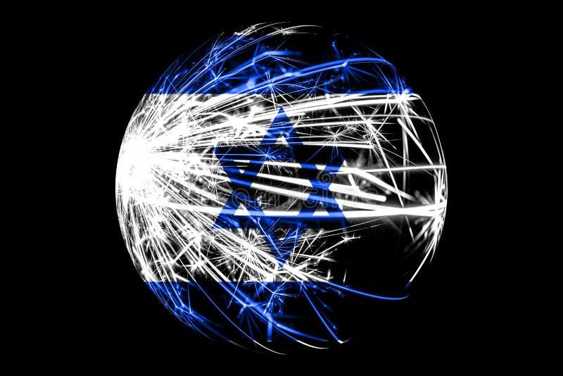 抽象以色列闪耀的旗子,圣诞节球概念隔绝在黑背景 库存例证