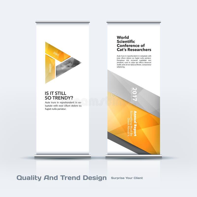 抽象企业传染媒介套现代卷起横幅立场与五颜六色的对角三角形状的设计模板 皇族释放例证