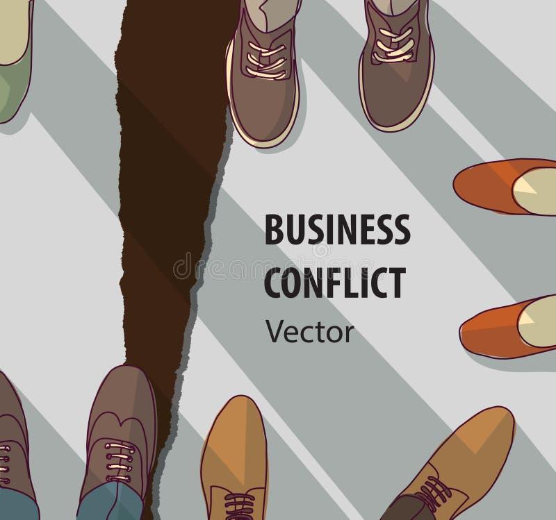 抽象企业冲突关系崩溃标志 向量例证