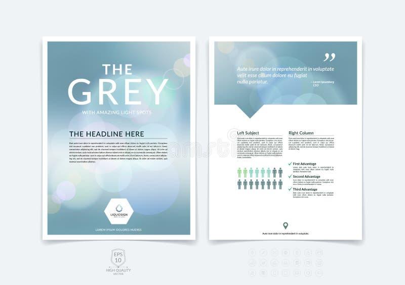 抽象企业小册子、飞行物和盖子设计版面templa 向量例证