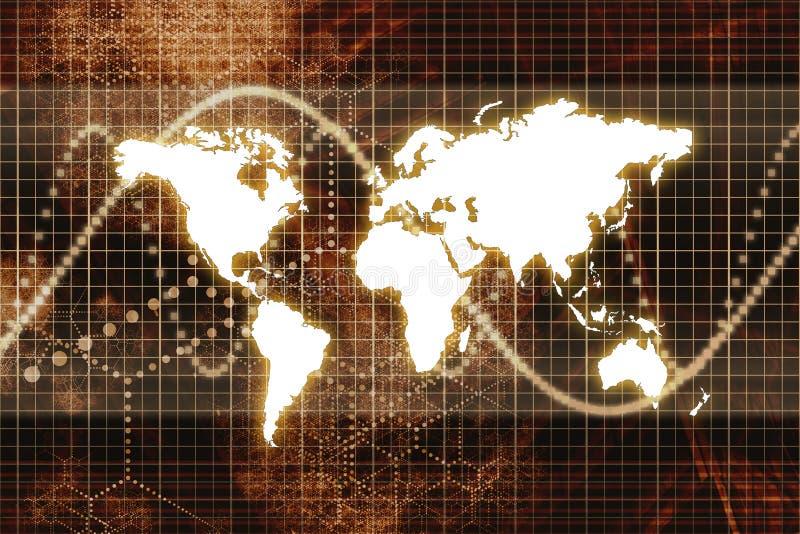 抽象企业数字式橙色世界 皇族释放例证