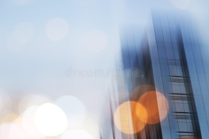 抽象企业现代城市都市未来派建筑学背景 房地产概念,行动迷离,反射 免版税库存照片