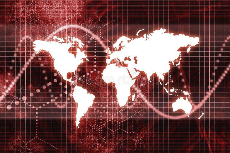 抽象企业经济全球红色 向量例证