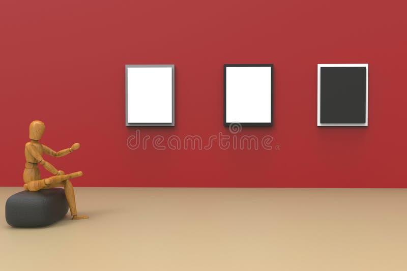 抽象企业画廊演播室和画框在Rad围住现代创造性的显示 免版税库存照片