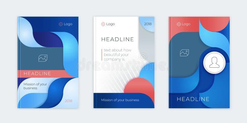 抽象传染媒介企业模板集合 小册子布局,包括现代设计年终报告,海报, A4多彩多姿的波浪 库存例证