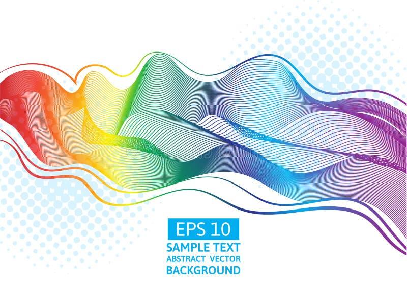 抽象传染媒介伟大的彩虹挥动五颜六色的梯度线 向量例证