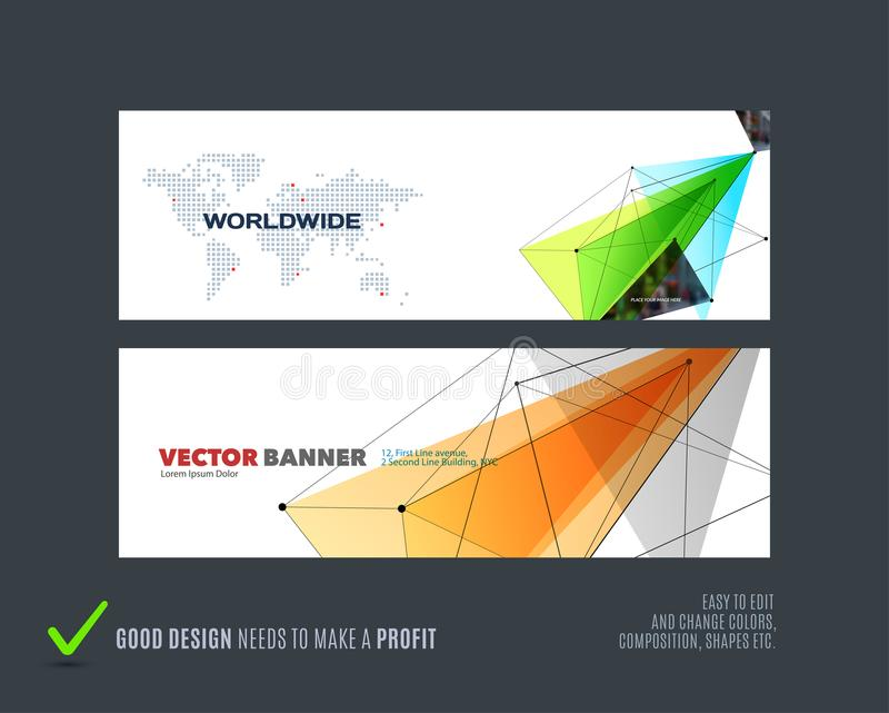抽象传染媒介套与五颜六色的三角的现代水平的网站横幅 向量例证