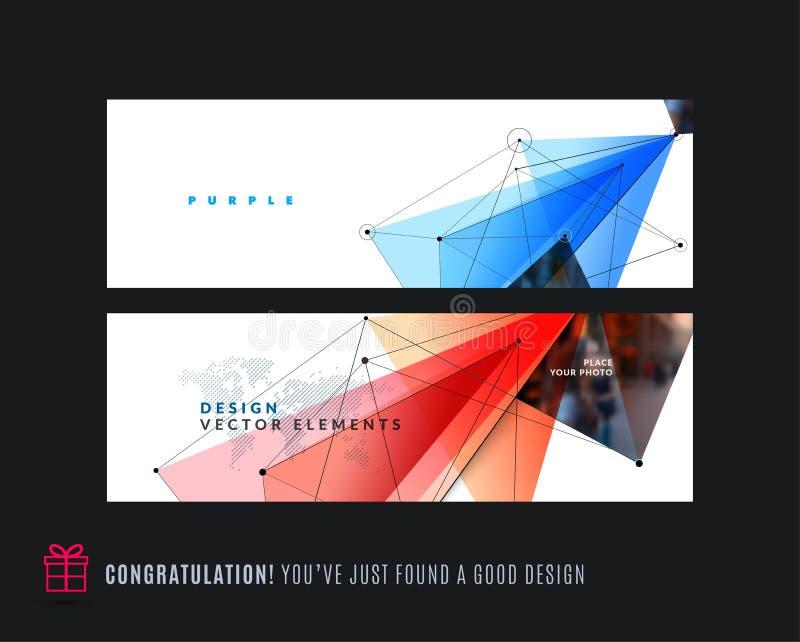 抽象传染媒介套与五颜六色的三角的现代水平的网站横幅 库存例证