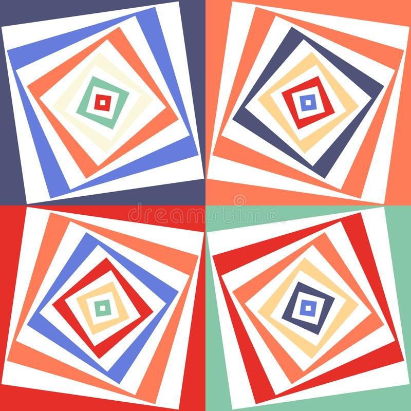 抽象传染媒介无缝的欧普艺术样式 颜色流行艺术,图表装饰品 光学的幻觉 向量例证