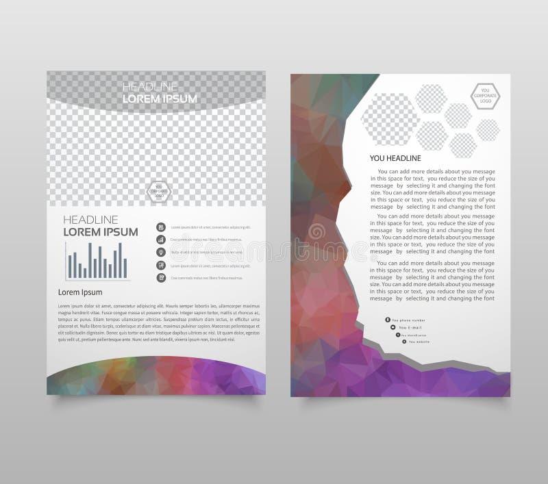 抽象传染媒介模板设计,小册子,网站,页,传单,有五颜六色的几何三角背景、商标和文本 向量例证