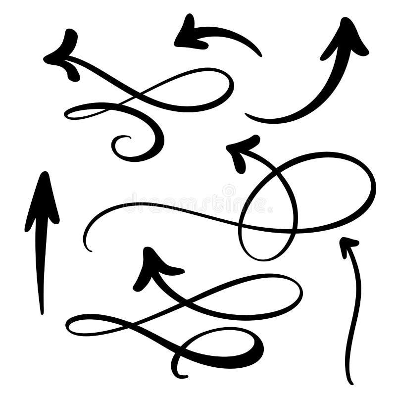 抽象传染媒介箭头集合 乱画手工制造标志样式 笔记的,经营计划,图表被隔绝的剪影例证 向量例证