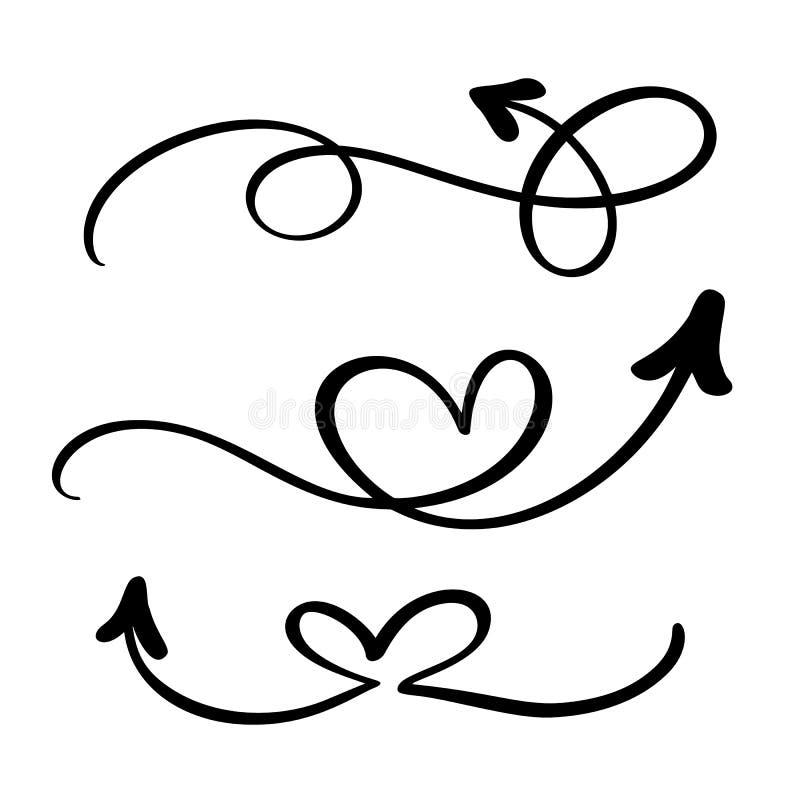 抽象传染媒介箭头集合 乱画手工制造标志样式 笔记的,经营计划,图表被隔绝的剪影例证 库存例证