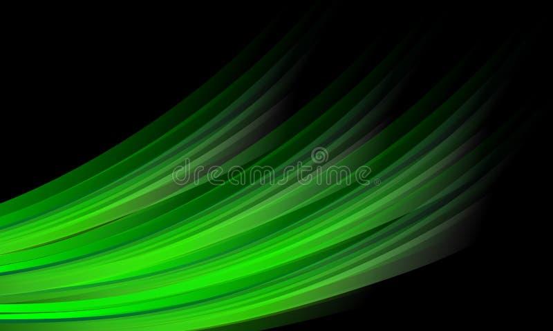 抽象传染媒介绿色遮蔽了与光线影响的波浪背景,光滑,曲线,传染媒介例证 库存例证