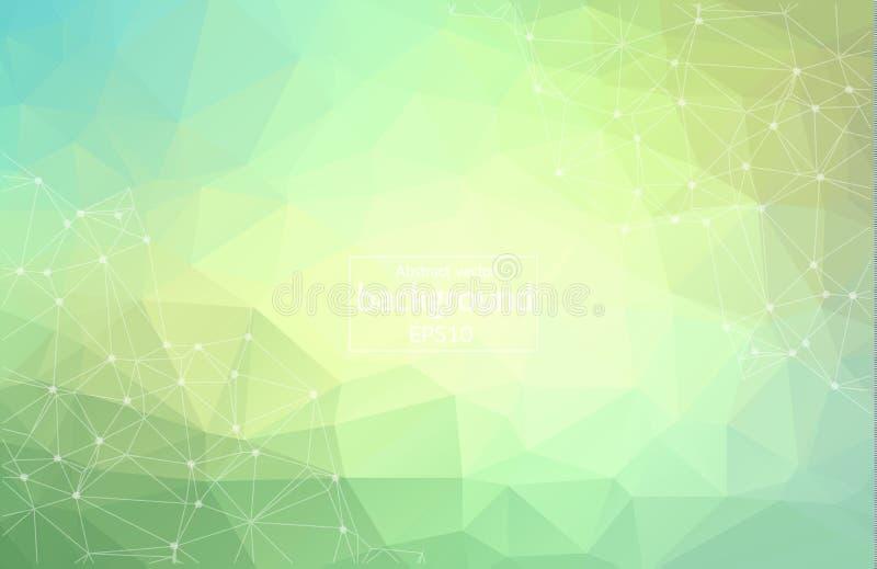 抽象传染媒介背景、颜色梯度、几何、线和点 抽象多角形与红色Connecti的空间黑暗的背景 库存例证