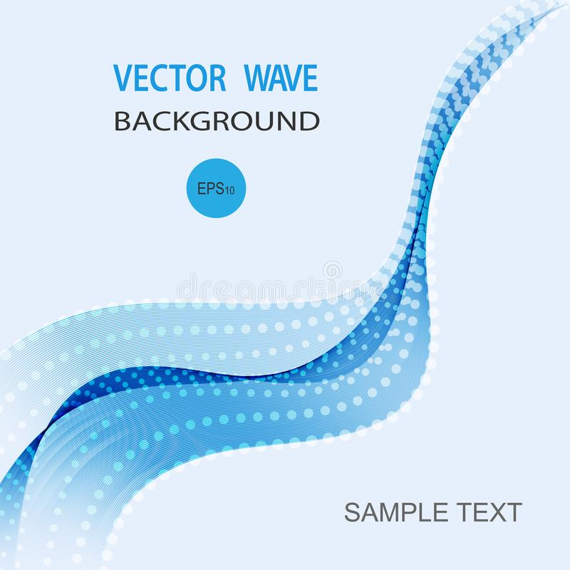 抽象传染媒介背景,小册子的,网站,飞行物设计蓝色透明挥动的线 库存例证