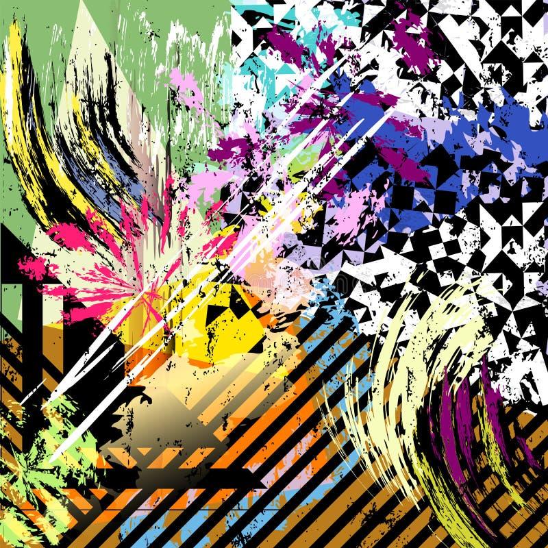 抽象传染媒介艺术品,油漆冲程,几何对象 库存例证