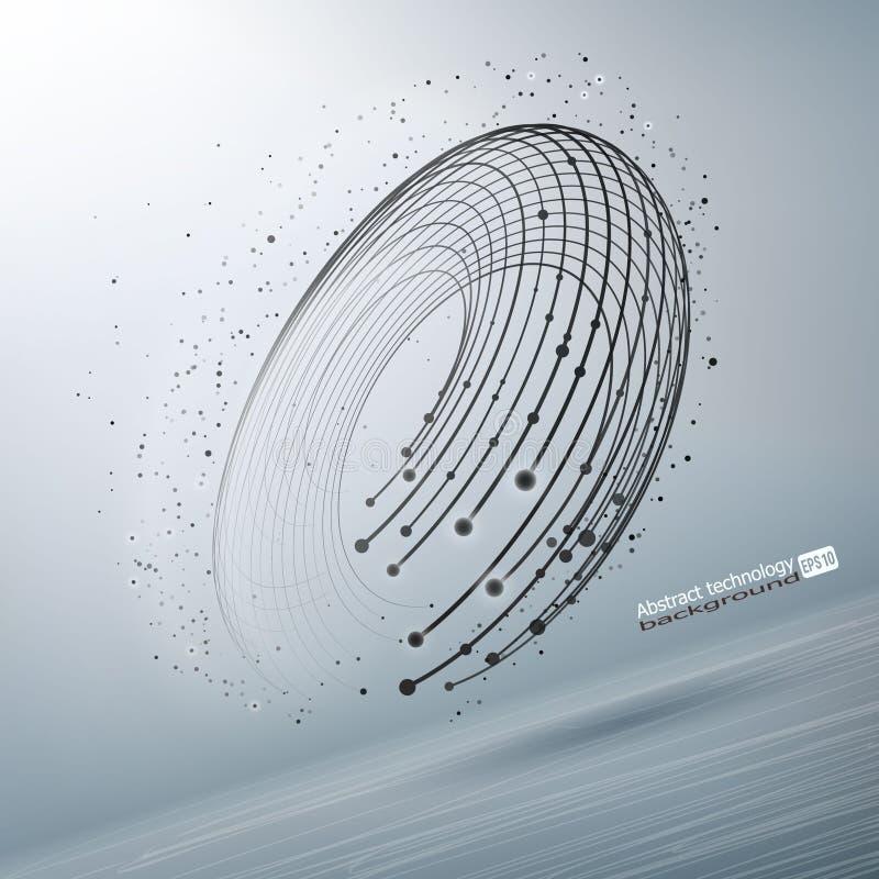 抽象传染媒介被毁坏的滤网球形 分开闯进点的球形 技术通信 未来派技术样式 皇族释放例证