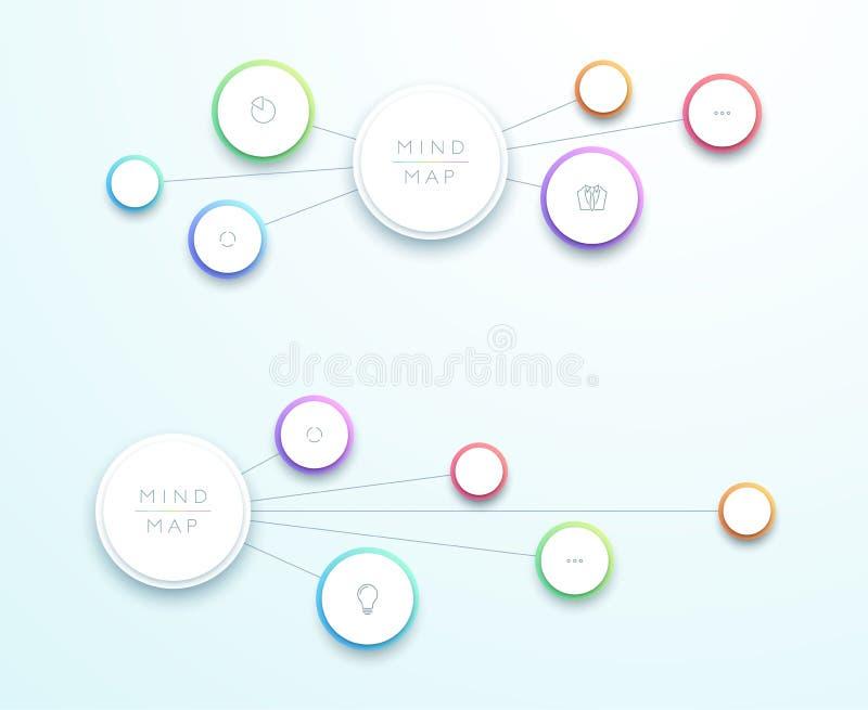 抽象传染媒介3d水平的心智图Infographic 库存例证