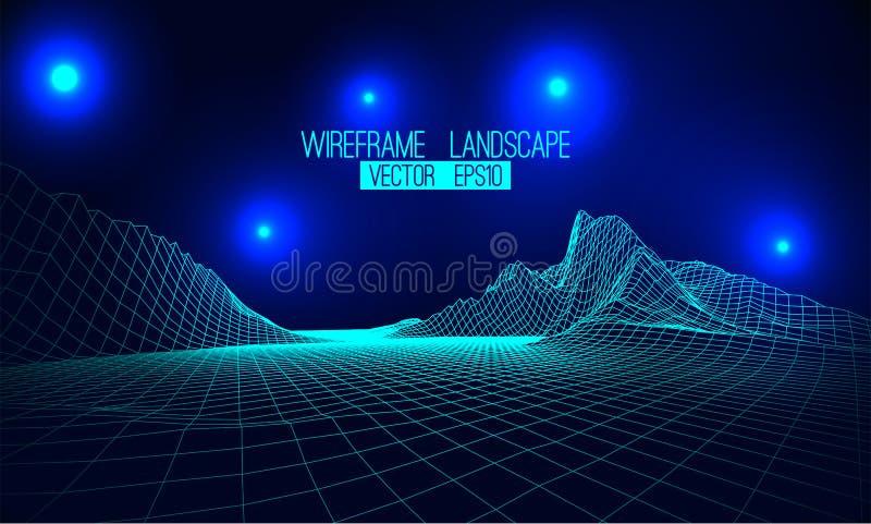 抽象传染媒介wireframe风景背景 网际空间栅格 3d 皇族释放例证