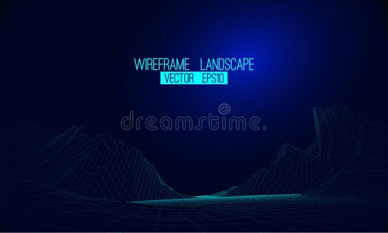 抽象传染媒介wireframe风景背景 网际空间栅格 3d 库存例证