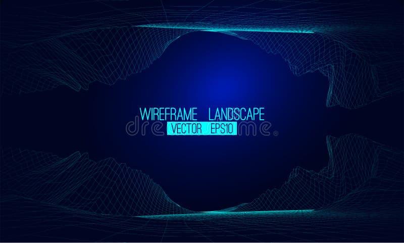 抽象传染媒介wireframe风景背景 网际空间栅格 3d 向量例证