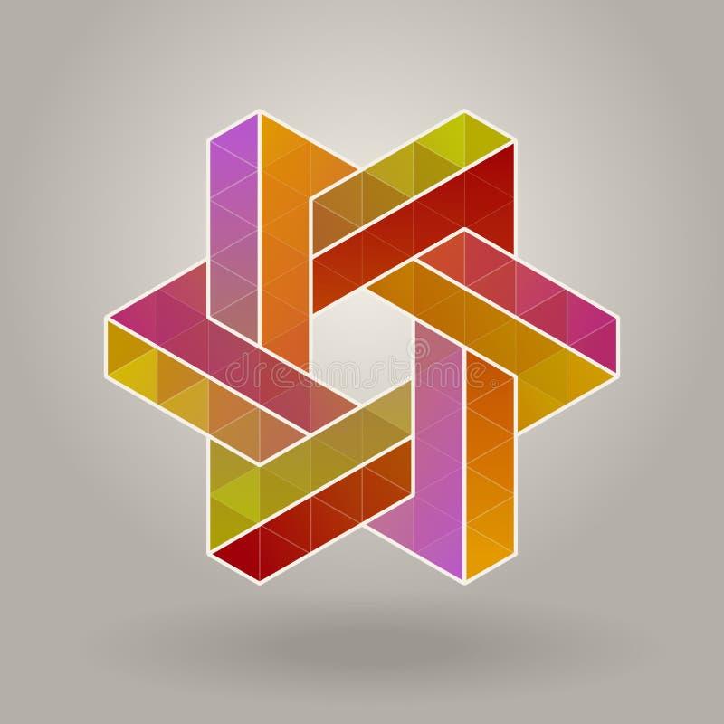 抽象传染媒介几何多色六角星形状隔行扫描多角形商标 库存例证
