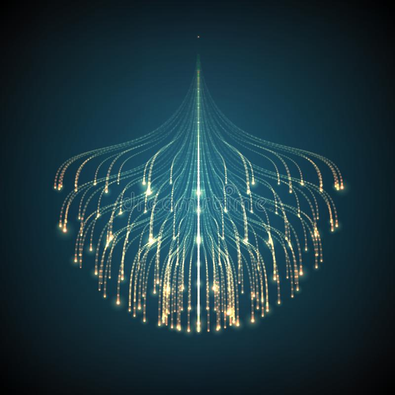 抽象传染媒介发光的线滤网背景 触手生物体发光  未来派样式卡片 库存例证