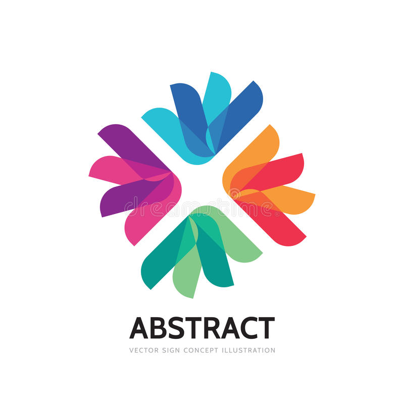 抽象传染媒介商标模板例证 社会媒介通信创造性的标志 概念几何花标志 友谊 向量例证