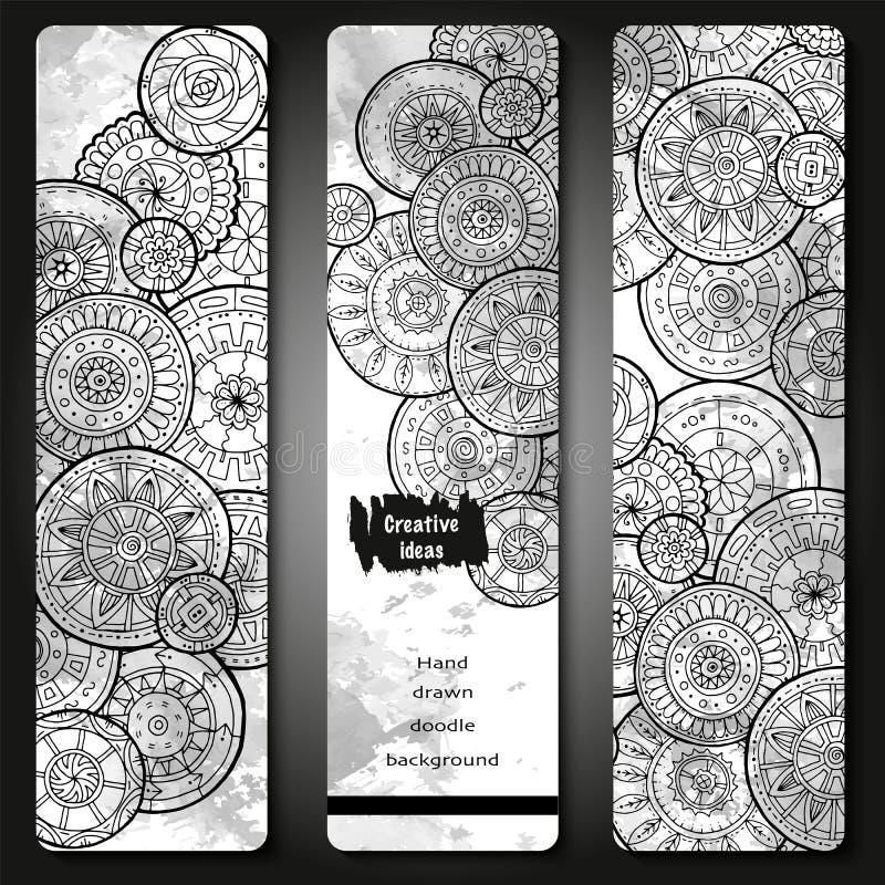 抽象传染媒介手拉的乱画花卉纹板集合 图象模板框架系列为卡片设计 黑色白色 向量例证
