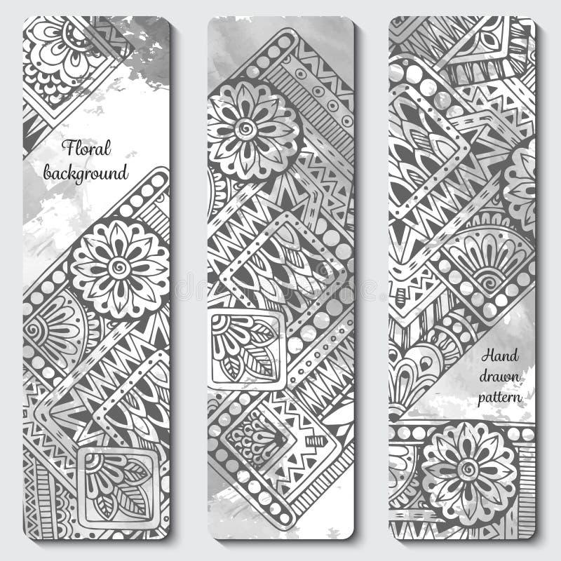 抽象传染媒介手拉的种族纹板集合 图象模板框架系列为卡片设计 黑色白色 皇族释放例证