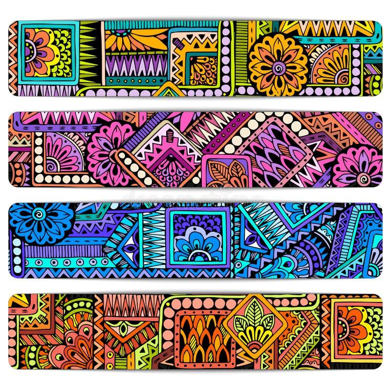 抽象传染媒介手拉的种族纹板集合 图象模板框架系列为卡片设计 库存例证