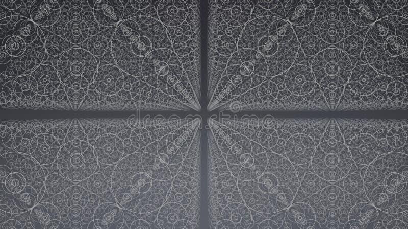 抽象传染媒介接口背景 十字架矩阵与深度和透视幻觉的  库存例证
