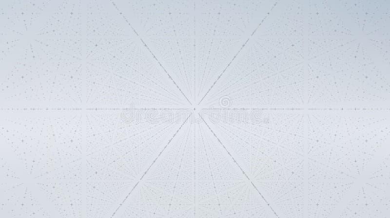抽象传染媒介接口背景 十字架矩阵与深度和透视幻觉的  向量例证