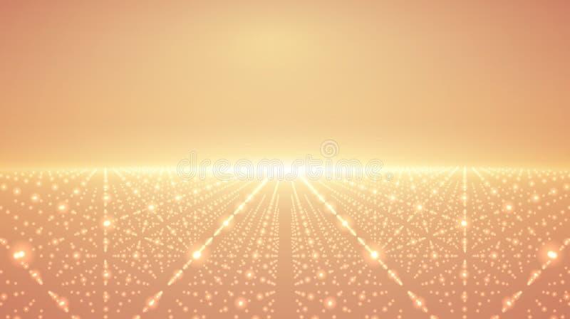 抽象传染媒介无限背景 发光担任主角与深度和透视幻觉  向量例证
