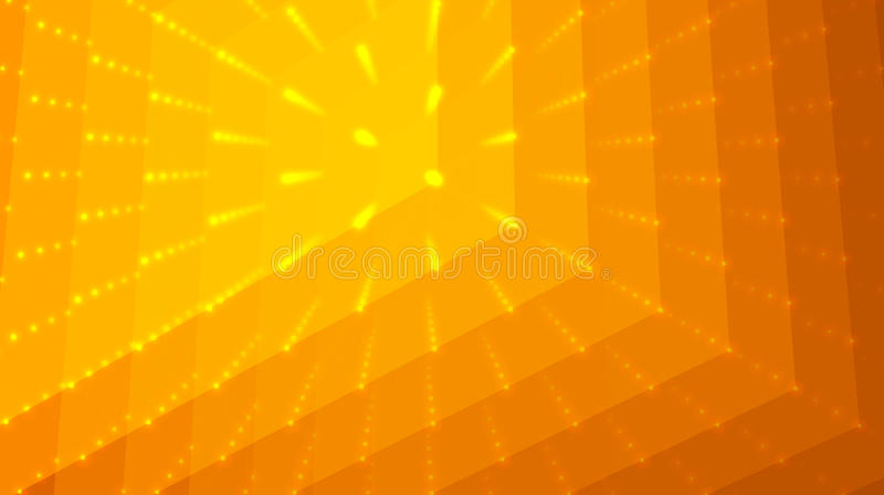 抽象传染媒介桔子背景 点和多角形矩阵与深度和透视幻觉  库存例证
