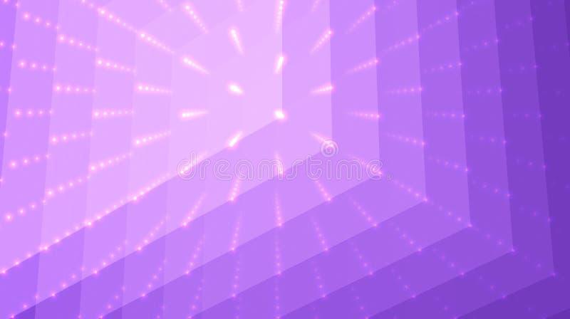 抽象传染媒介紫罗兰背景 点和多角形矩阵与深度和透视幻觉  库存例证