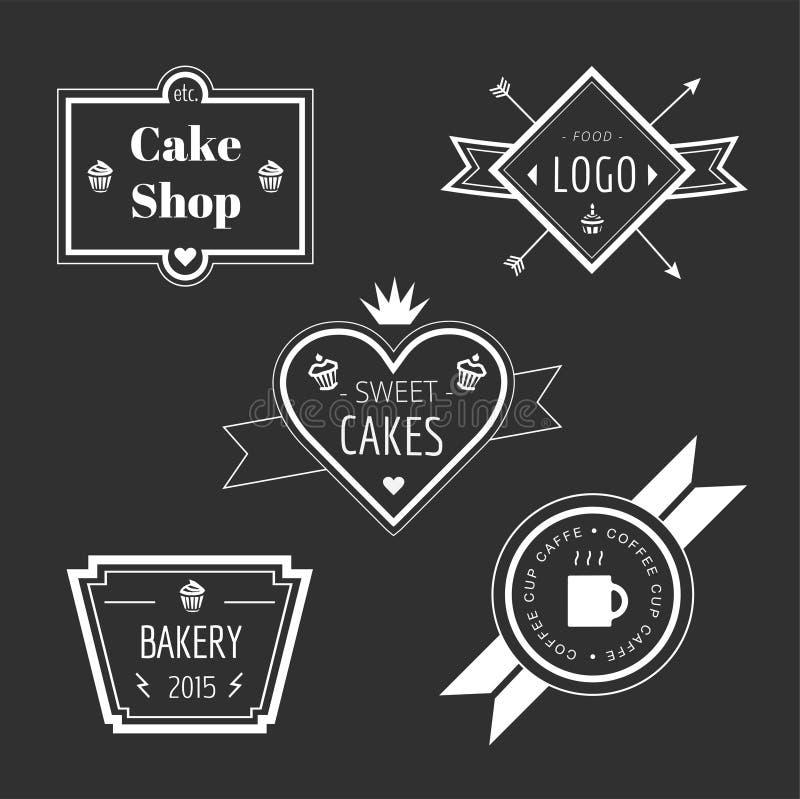 抽象传染媒介蛋糕葡萄酒商标元素集 向量例证