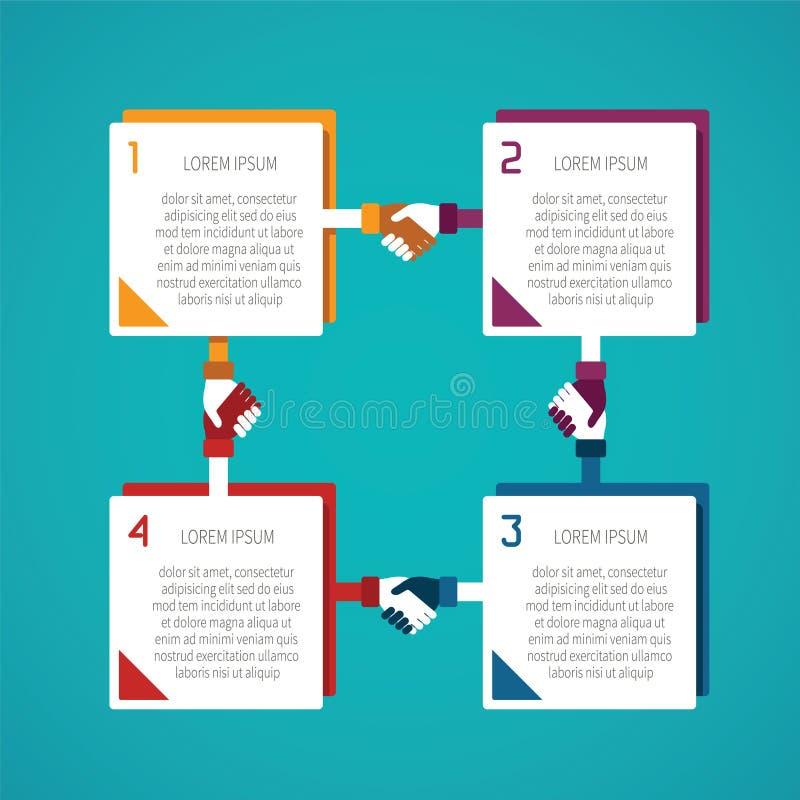 抽象传染媒介4跨步在平的样式的infographic模板布局工作流计划的,被编号选择、图或者图 向量例证